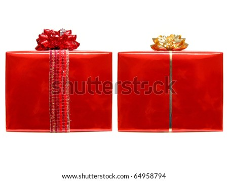 Two wrapped gifts with bows and ribbon - stock photo