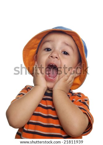 two-year-old boy yelling in shock or surprise - stock photo