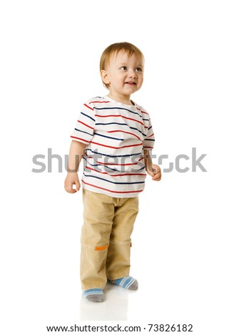 Two years boy standing full length isolated on white