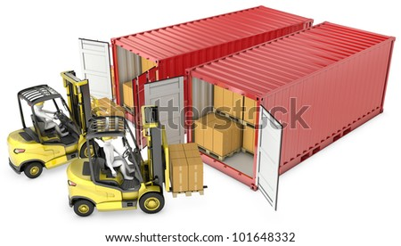 Two yellow lift truck unloading containers, isolated on white background - stock photo