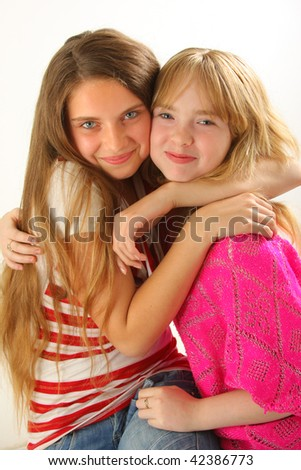 two young and wonderful models - stock photo