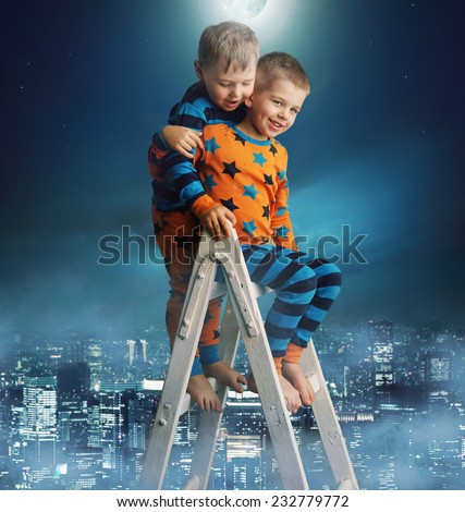 Two young boys on a ladder - stock photo