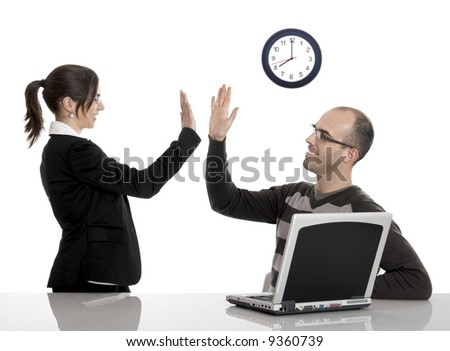 Two young business man and woman very happy with great news - stock photo