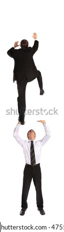 Two young business men climbing upwards. All isolated on white background. - stock photo