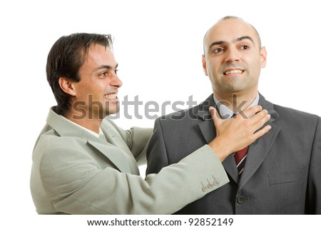 two young businessmen in a fight, isolated - stock photo