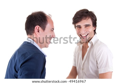 two young businessmen laughing - stock photo