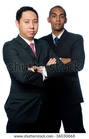 Two young businessmen on white background