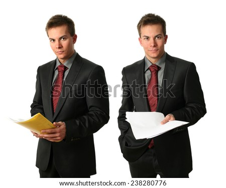 Two young businessmen with documents isolated on white - stock photo