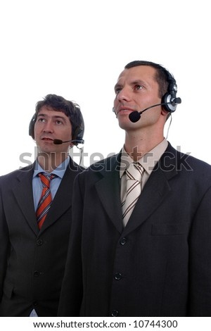 two young call center men talking by the phone