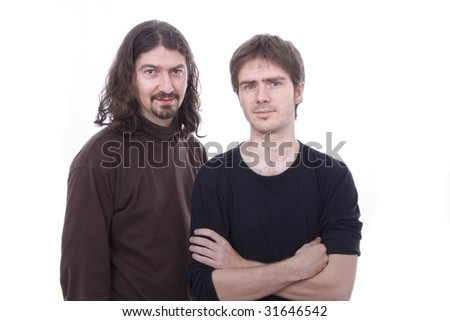 two young casual man on a white background