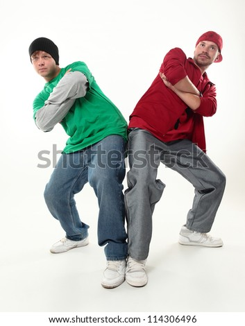 two young cool boys, looking to camera studio photo