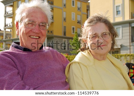 Two young elderly happy and serene - 267 - stock photo