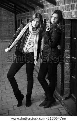Two young fashion girls at the brick wall  - stock photo