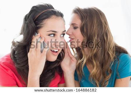 Two young female friends using mobile phone while sitting on sofa at home