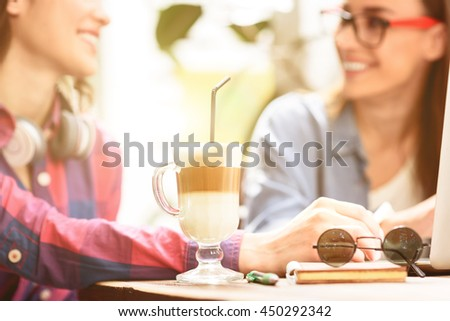 Two young friends enjoying day together - stock photo