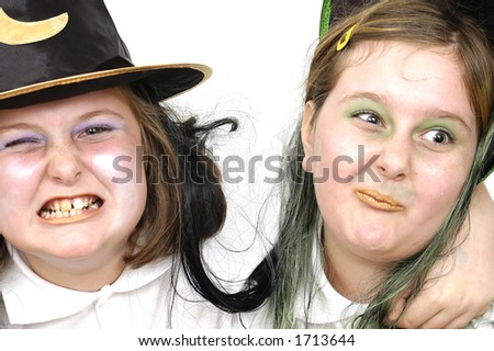 Two Young Girls dressed up for Halloween
