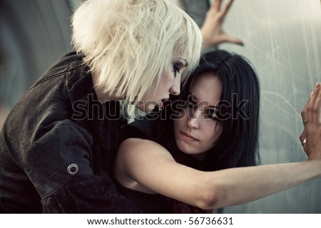 Two young goth women portrait. - stock photo