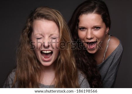 Two young happy girlfriends - stock photo