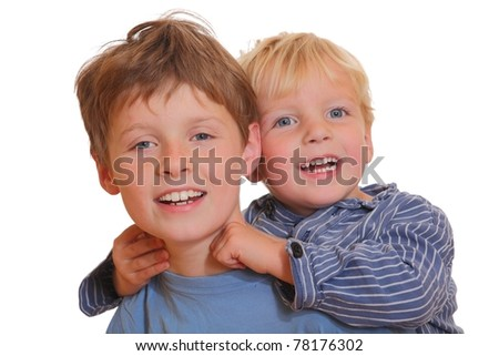 Two young kids having fun