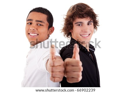 two young man of different colors, with thumb up, isolated on white, studio shot - stock photo
