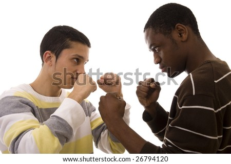 Two young men ready to fight isolated on white