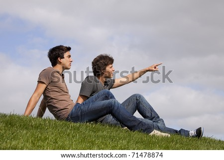 Two young men sited on the grass looking and pointing away - stock photo