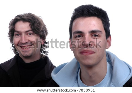 two young mens portrait isolated over white