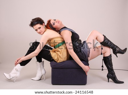 Two young models posing in the studio