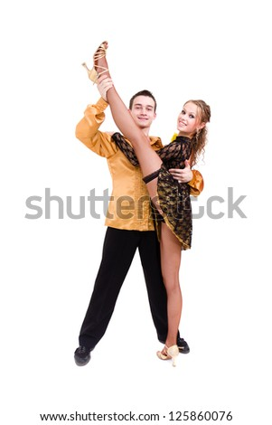 two young modern acrobats dancing against isolated white background - stock photo