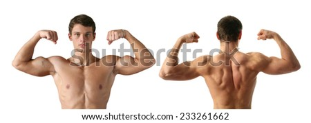 Two young muscilar men showing their biceps isolated on white - stock photo