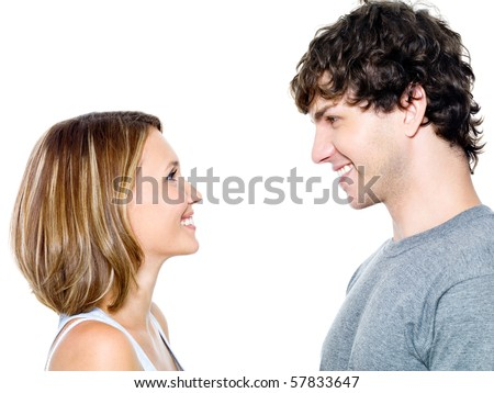Two young people dating - isolated on the white - stock photo