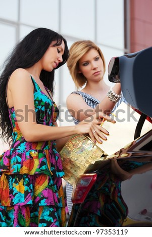 Two young shoppers with a car