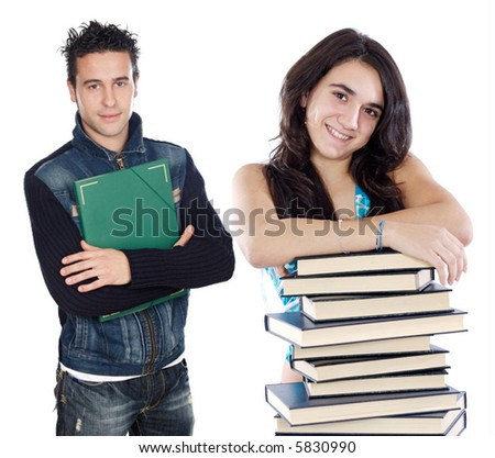 Two young students a over white background