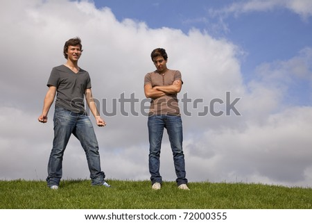 two young teenager at the park - stock photo