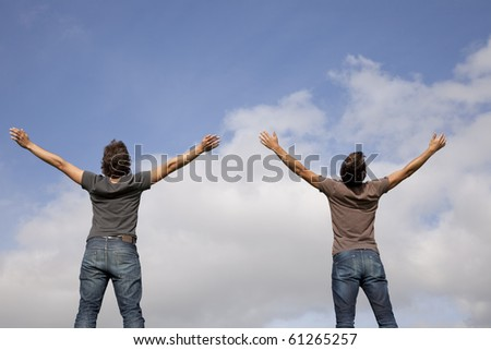 two young teenager enjoying the fresh air in outdoor - stock photo