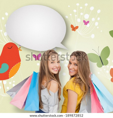Two young women with shopping bags with speech bubble against orange bird with heart and dandelions