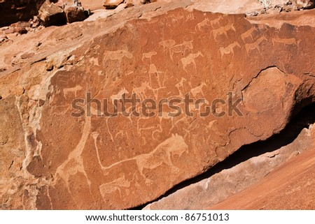 Twyfelfontein in Namibia, Africa - stock photo