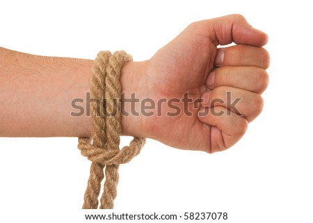 tying ropes isolated on a white background