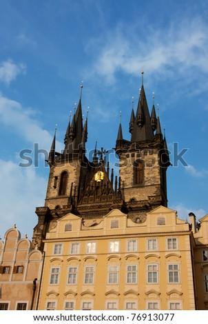 Tyn Church  in Prague, Czech Republic - stock photo