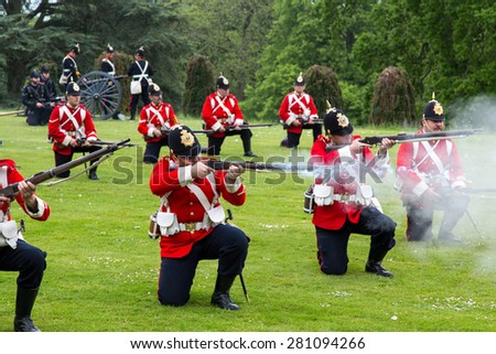 Tyntesfield, UK. 24th May 2015. A re-enactment troupe demonstrate in the Somerset countryside - stock photo