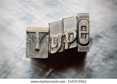 Type word letters spelled out with vintage grunge letterpress typeheads - stock photo