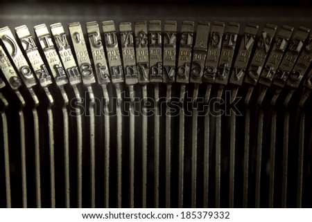 Types of an old typewriter, lighting