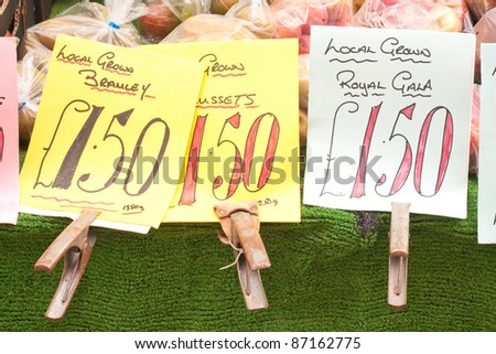Types of apples for sale at an english market stall - stock photo