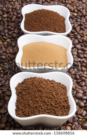 types of coffee: grounds, instant, powder, coffee beans - stock photo