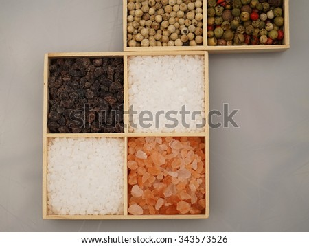 Types of salt and pepper - stock photo