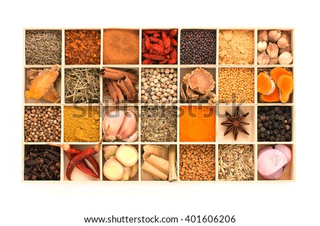 Types of spicy herbs with aromatic spices Was inserted in wood are cut into pieces and grind a little put on white isorated. - stock photo