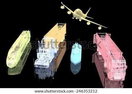 Types of transport. 3d model on black background  - stock photo