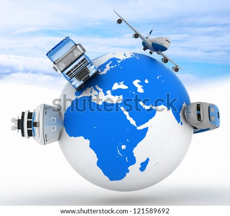 types of transport on a globe in the sky background - stock photo