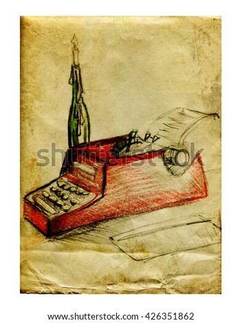 Typewriter and candle in a bottle - stock photo