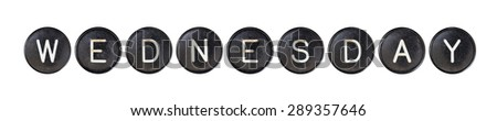 Typewriter buttons, isolated on white background - Wednesday - stock photo